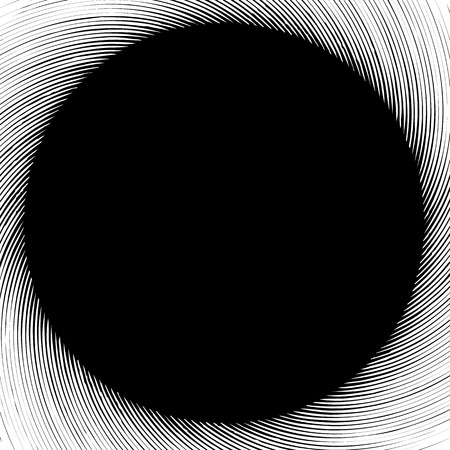Abstract graphics with circular spiral distortion. Pattern of rotating radial lines. Grungy swirl shape Illustration