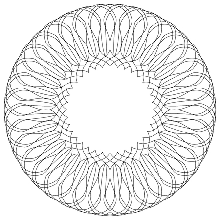 Geometric circular pattern. Abstract motif with radiating intersecting lines Illustration