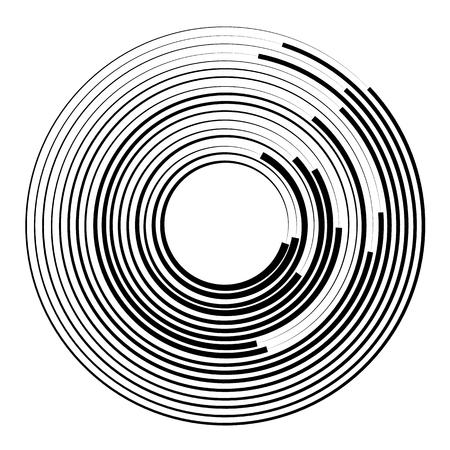 cerchi concentrici elemento geometrico. Radiale, irradiando grafico circolare.