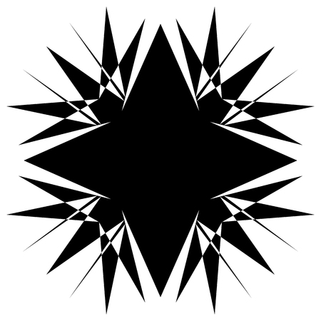 Square element with zig-zag, criss-cross distortion on white. Abstract geometric square shape, square element Illustration