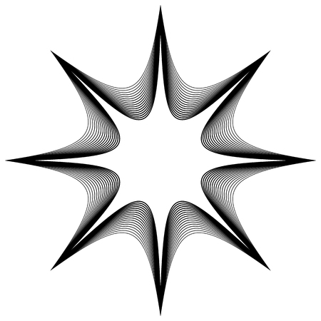 black and white circular element concentric radial lines with