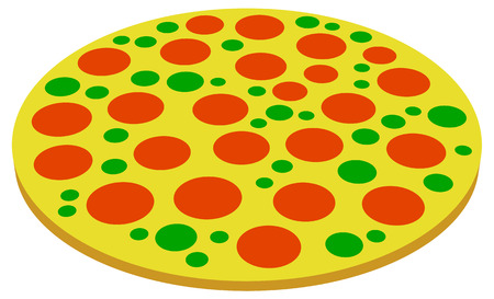 junkfood: Pizza symbols, pizza icons. Perspective, 2 versions Illustration
