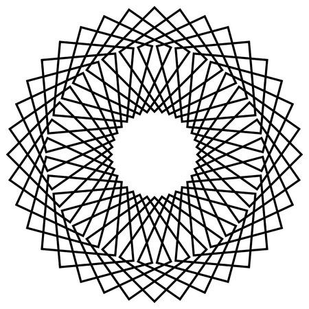 Geometric abstract mandala, spirally geometric shape, object