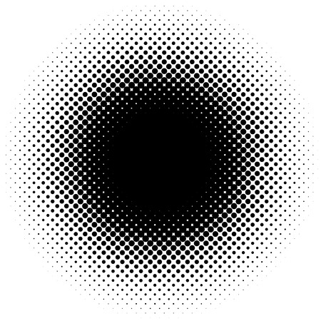 Halftone element, circular halftone pattern. Specks, halftone circle gradient Illustration