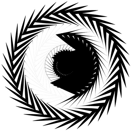 Circular geometric motif. Abstract grayscale op-art element