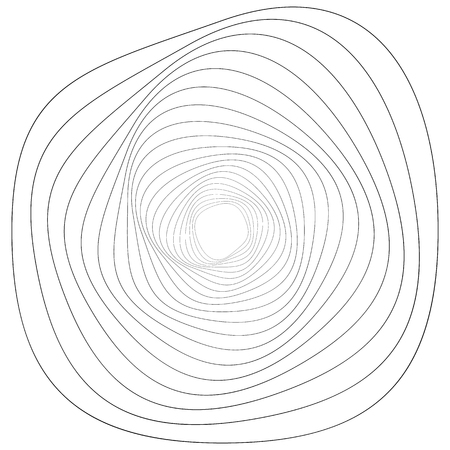 Circular geometric motif. Abstract grayscale op-art element Vector Illustration