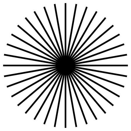 Circular geometric motif. Abstract grayscale op-art element