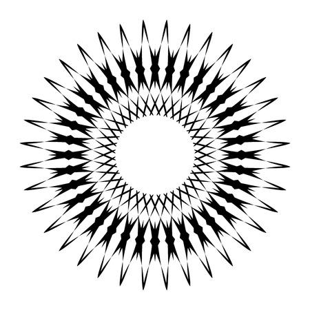 cíclico: Circular geometric motif. Abstract grayscale op-art element