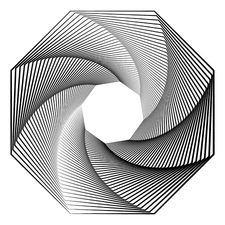 volute: Circular geometric motif. Abstract grayscale op-art element