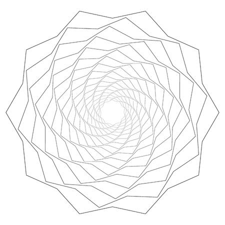Circular geometric motif. Abstract grayscale op-art element Vektorové ilustrace