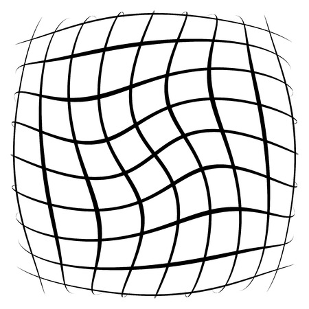 Grid, mesh, lattice with distortion, warp effect. Abstract element illustration.