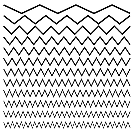 Wavy, criss-cross, zig-zag lines. Set of different levels Vector illustration. Illustration