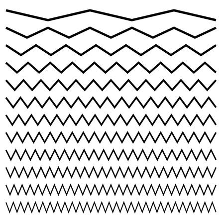 Wavy, criss-cross, zig-zag lines. Set of different levels Illustration