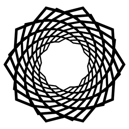Mandala motif with wavy zig-zag lines rotating. Illustration