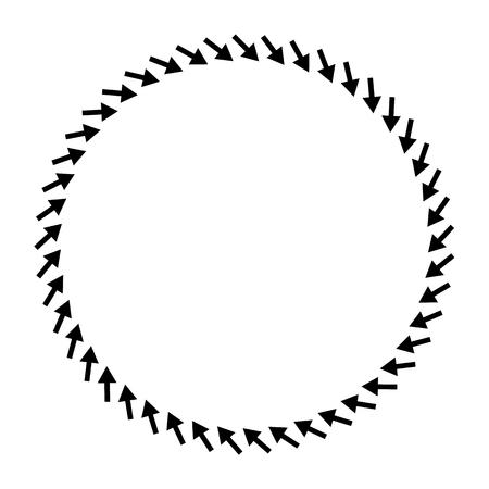 Concentric radial, radiating arrows. Circular arrow element