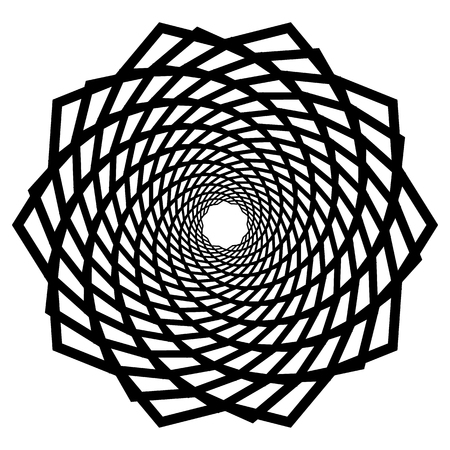 Mandala motif with wavy, zig-zag lines rotating Illustration