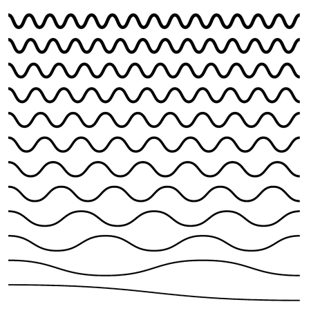 Wavy, criss-cross, zig-zag lines. Set of different levels Vector illustration. Ilustração