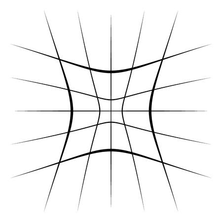 Grid mesh lattice with distortion, warp effect. Abstract element Illustration