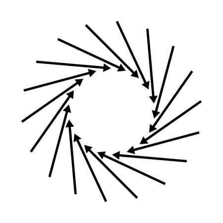 Concentric, radial, radiating arrows. Circular arrow element Vector illustration.