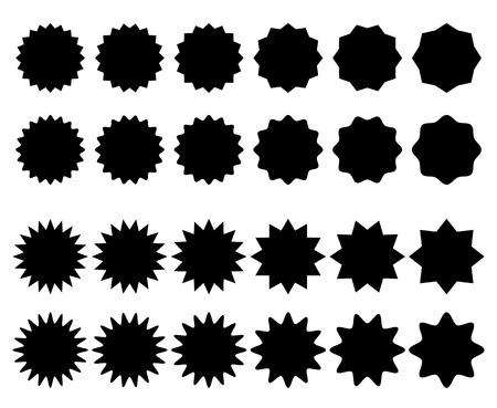 Badge, star burst shape with blank space Vector illustration.
