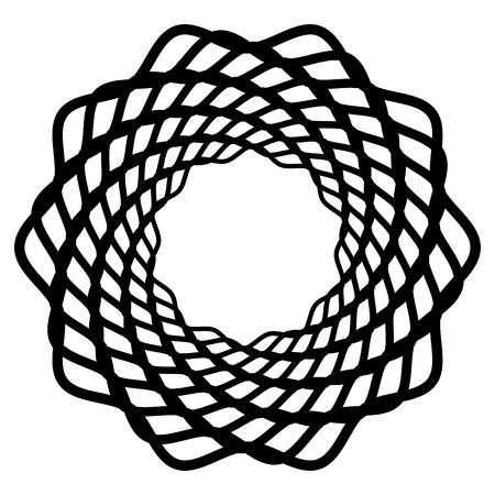 Mandala, motif with wavy, zigzag lines rotating illustration.