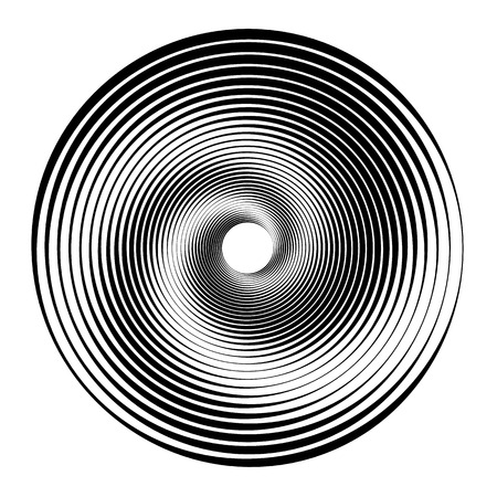 Concentric circles, concentric rings. Abstract radial graphics. Ilustração