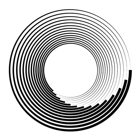 Concentric circles, concentric rings. Abstract radial graphics. Vector illustration.