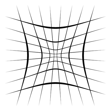 Grid, mesh, lattice with distortion, warp effect. Abstract element