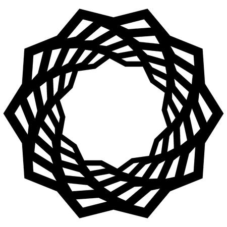 Mandala, motif with wavy, zig-zag lines rotating