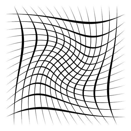 Grid, mesh, lattice with distortion, warp effect. Abstract element Vector illustration.