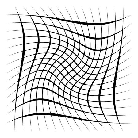 Grille, maille, treillis avec distorsion, effet de chaîne. Élément abstrait Illustration vectorielle. Vecteurs