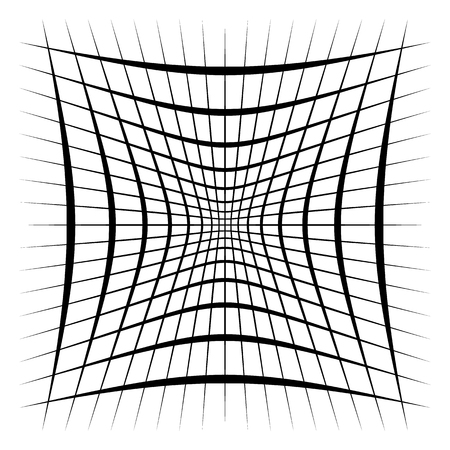 Grid, mesh, lattice with distortion, warp effect. Abstract element Vector illustration.  イラスト・ベクター素材