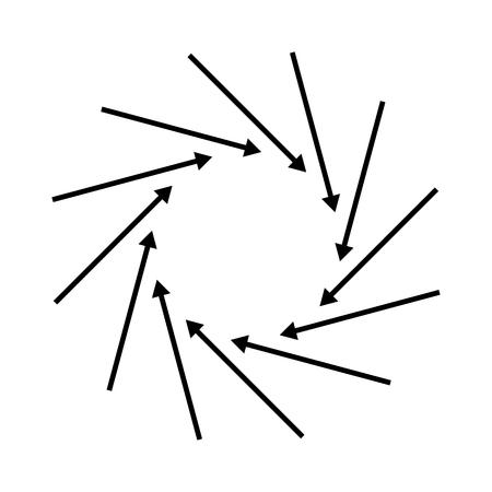 Concentric, radial, radiating arrows. Circular arrow element.