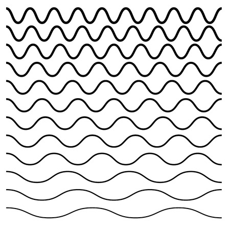 Wavy, crisscross, zigzag lines. Set of different levels illustration.