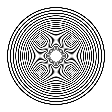 Concentric circles, concentric rings. Abstract radial graphics. Illustration