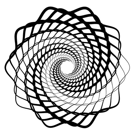 Mandala, motif with wavy, zig-zag lines rotating Vector illustration.