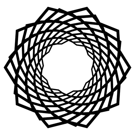 Mandala, motif with wavy, zig-zag lines rotating Vector illustration.