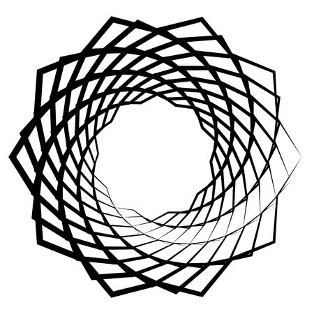 Mandala, motif with wavy, zigzag lines rotating Vector illustration. Illustration