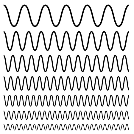 Wavy, criss-cross, zig-zag lines. Set of different levels Vector illustration. Çizim