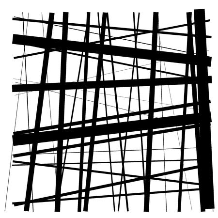 Random lines, stripes. Chaotic lines element isolated on white