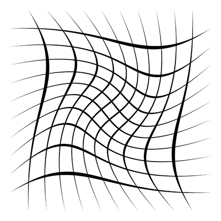Grid, mesh, lattice with distortion, warp effect. Abstract element Vector illustration. 向量圖像