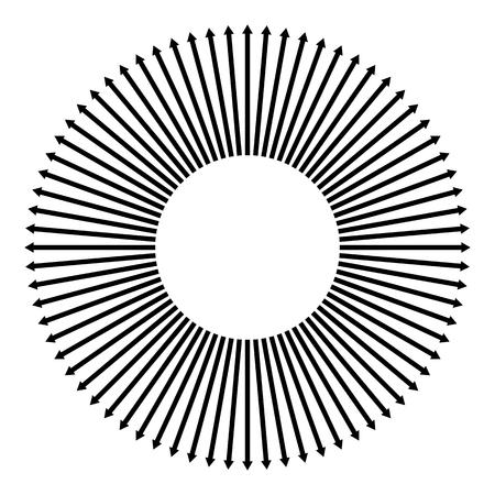 Concentric, radial, radiating arrows. Circular arrow element Vector illustration.