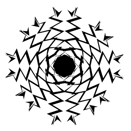 Concentric radial element. Radiating abstract geometric element Vector illustration.