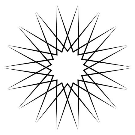 Circular, radial abstract element on white. Radiating shape with distortion