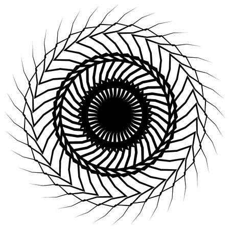 Geometric radial element. Abstract concentric, radial geometric motif.