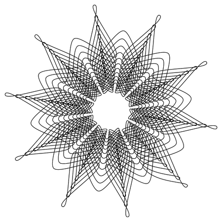 Concentric, radial abstract element on white. Radiating shape with distortion