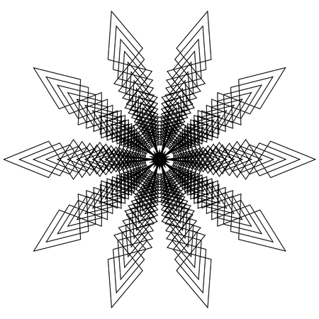Circular, radial abstract element. Radiating shape with distortion