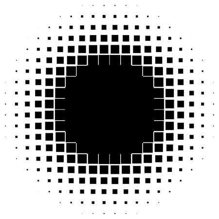 Abstract geometric graphic with half-tone pattern on black and white illustration.