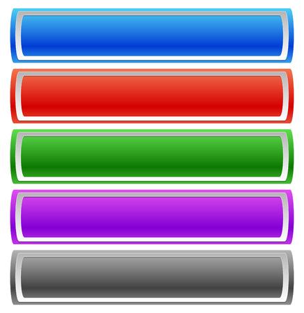 Horizontale Schaltfläche, Bannervorlagen in 5 Farben