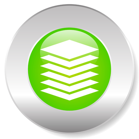 Stacked layers, tower symbol over green background. Tower, layer icon